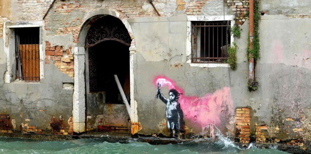 Banksy réalise un pochoir à Venise en 2019