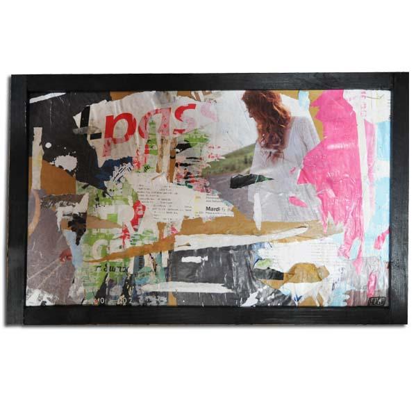 pass, décollage sur carton, 60 x 45 cm
