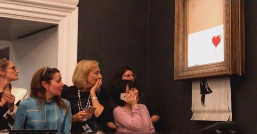 Découpage de l'oeuvre de Banksy Sotheby's 2018