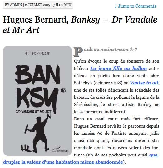 Lelitteraire parle du livre sur Banksy de Hugues BERNARD